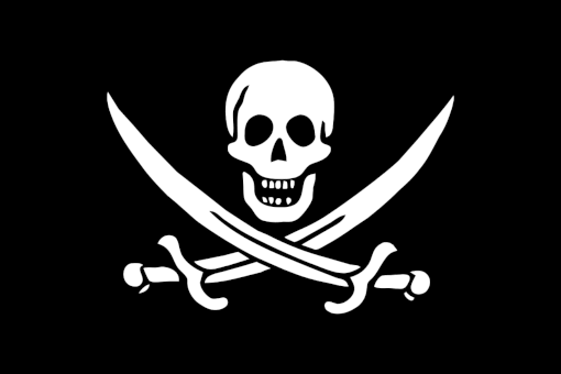 the infamous Jolly  Roger pirate flag
