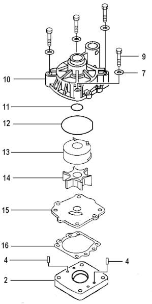 Phantom drawing of a Yamaha F115 water pump assembly