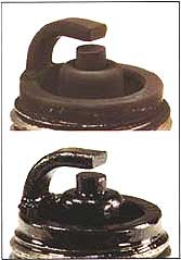 marine sparkplugs with wet and dry deposit fouling
