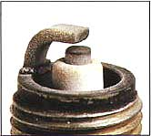 marine spark plug with normal deposits
