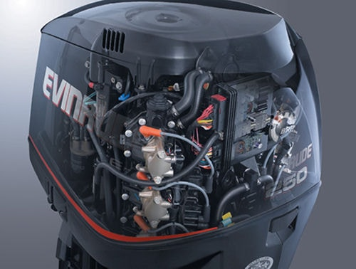 Cutaway drawing of an E-TEC 250 horsepower direct injected outboard motor