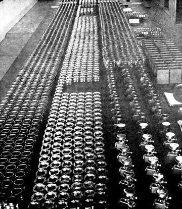 fish carburetor production line circa 1954