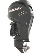 Studio shot of Mercury Verado 135 hp four-stroke outboard motor.