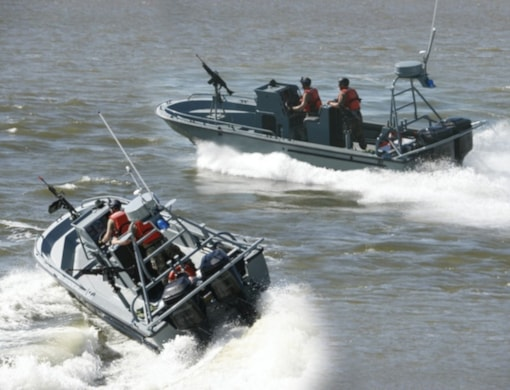 Mercury Racing OptiMax JP rigged on TPSB Transportable Security Boat