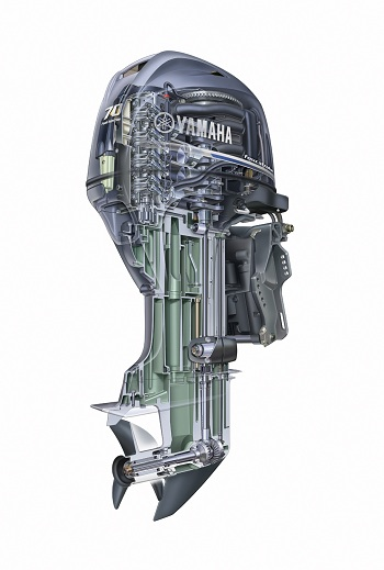 cutaway view of Yamaha F70 outboard