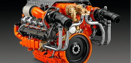 Studio shot of the Scania 1150-hp marine diesel
