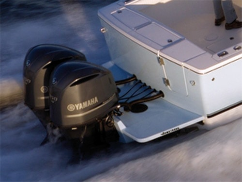 an Armstrong transom bracket with twin yamaha outboards