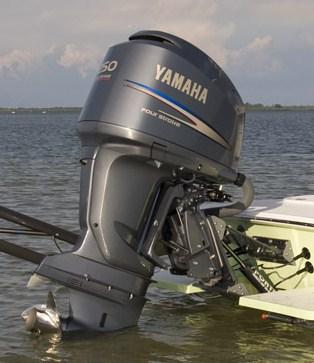 A yamaha 250 4 stroke on a porta products transom bracket